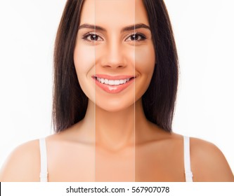 Brunette happy woman face with different color skin.