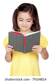 Brunette little girl reading a book isolated on a over white background