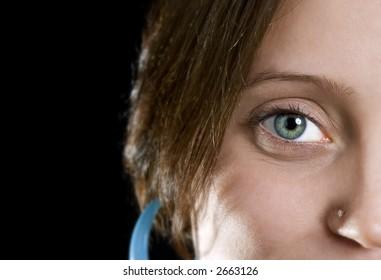 Brunette model posing up close eye