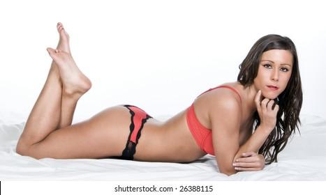 Brunette Model in Red Lingerie