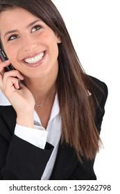 Brunette on the phone