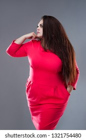 Brunette plus size fashion model in red dress, fat woman with long hair on gray background, studio shot