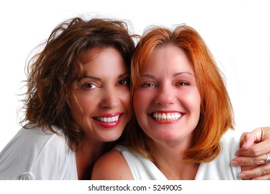 Brunette and Redhead female model portrait isolated on white background