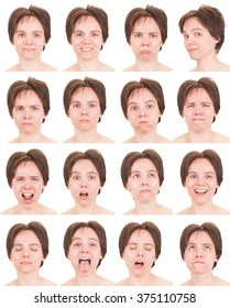 brunette short hair adult caucasian woman collection set of face expression like happy, sad, angry, surprise, yawn isolated on white
