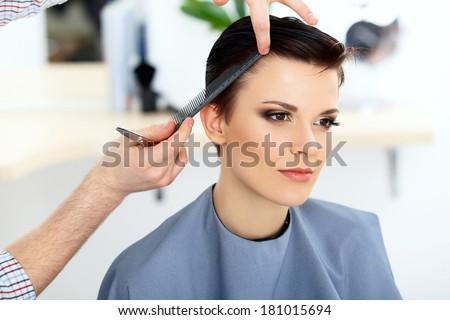 Brunette Short Hair Hair Salon Hairdresser Stock Photo Edit Now
