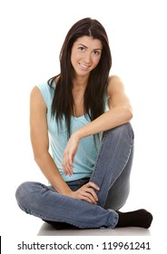 brunette wearing blue casual outfit on white isolated background
