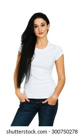 Brunette woman in blank white t-shirt posing on white background