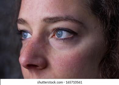 brunette woman eyes close up