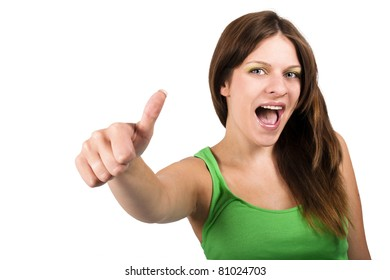 Brunette woman with green top showing thumbs up
