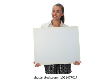 Brunette woman holding empty white board card. isolated on white