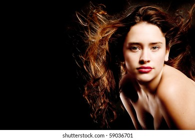 Brunette woman with long hair