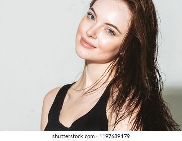 Brunette woman with long hair beautiful face portrait