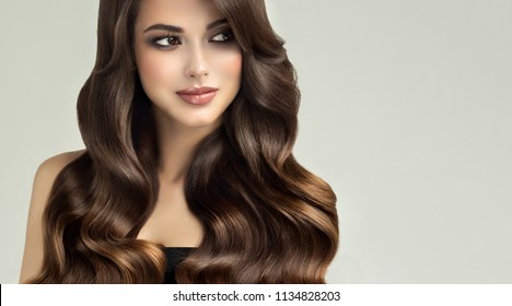 Brunette  woman  with long , healthy and   shiny curly hair .  Beautiful  model girl  with wavy hairstyle   .Care and beauty