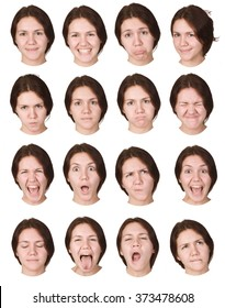brunette young caucasian woman collection set of face expression like happy, sad, angry, surprise, yawn isolated on white