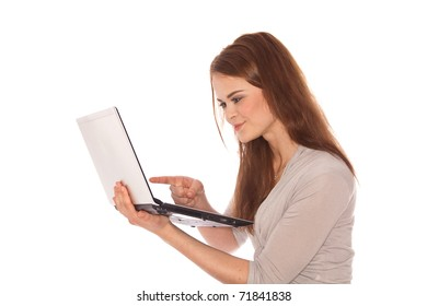 brunette young woman with laptop in hand