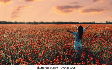 Brunette young woman with long hair relaxing with raised arms in poppy flower meadow at sunset in summer.