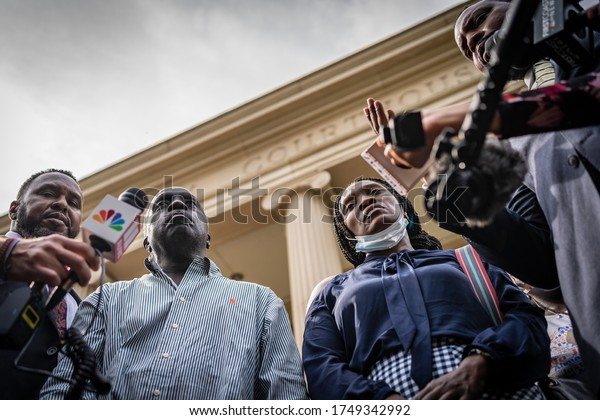 BRUNSWICK, GEORGIA / USA - June 4, 2020: Ahmaud Arbery's parents (Marcus Arbery, Sr. and Wanda Cooper-Jones) at the Glynn County Courthouse following the preliminary hearing for the suspects.