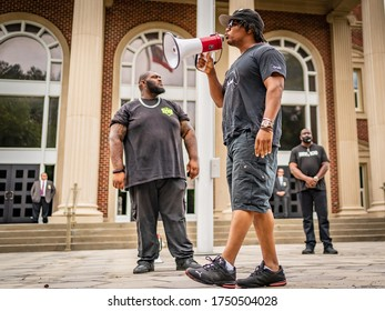 BRUNSWICK, GEORGIA / USA - June 5, 2020: Scenes from a protest against District Attorney Jackie Johnson at the Glynn County Courthouse.