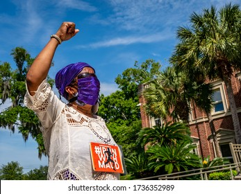 BRUNSWICK, GEORGIA / USA - May 18, 2020: Scenes from a protest at the Glynn County Courthouse about the shooting death of Ahmaud Arbery.