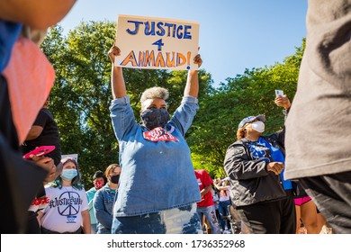 BRUNSWICK, GEORGIA / USA - May 8, 2020: Scenes from the rally at the Glynn County Courthouse on the day following two arrests in the shooting death of Ahmaud Arbery.