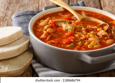 Brunswick stew is a popular dish in the south of America, made from meat with vegetables, spices and barbecue sauce close-up on the table. horizontal