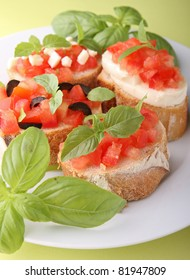 bruschetta and basil