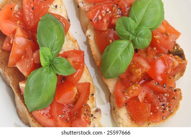 Bruschetta with freshly ground pepper and basil