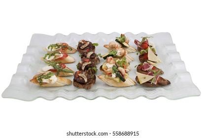 Bruschetta Italian Antipasto Topped Appetizer Snack Tray Set