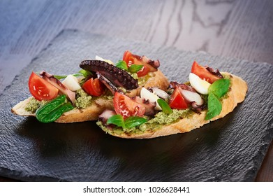 bruschetta on the table in the restaurant