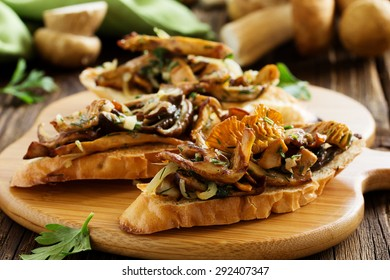 Bruschetta with roasted wild mushrooms.