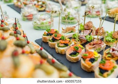 Bruschetta with tomato, Italian finger food wedding snacks