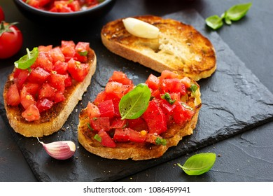 Bruschetta with tomatoes and basil.