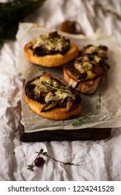 bruschetta with wild Mushroom .style vintage .selective focus