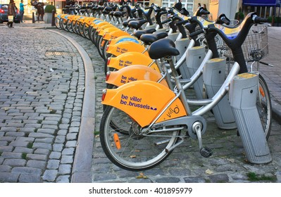 BRUSELLS, BELGIUM -NOV 02,2015: Bicycle parking. One of the most popular types of fast movement in city