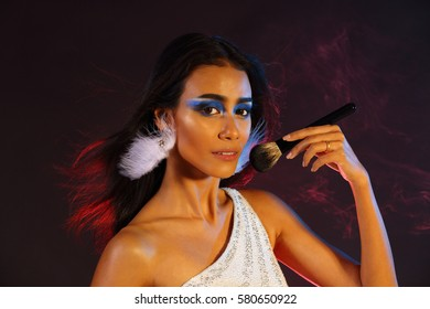 Smoking Tan Skin Asian Woman Black Stock Photo Edit Now 732577366