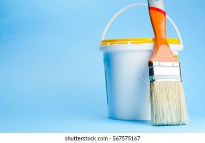 brush, bucket of paint