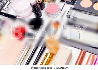 Brush and cosmetic isolated on a white background. Top view.