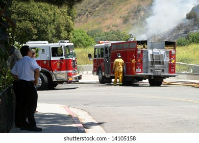 Brush fire in Ventura, California. The fire consumed 25 acres and was quickly controlled by more then 100 firefighters and water dropping helicopters.