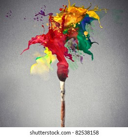 Brush full of colored paint