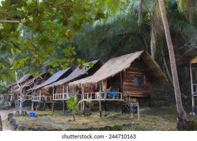 Brush house on Koh-Waii, Thailand paint