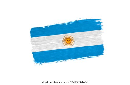 brush painted flag of Argentina isolated on white background