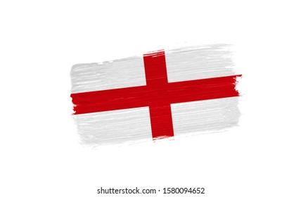 brush painted flag of England isolated on white background