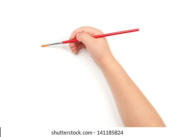brush for painting in child hand