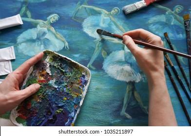 brush, palette, artist's hand, ballet Painting Acrylic and Full spectrum on Cardboard