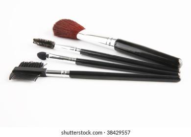 brush set for make-up over white background