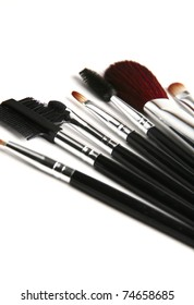 brush set for make-up over white background