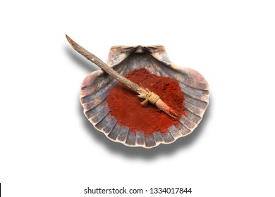 A brush and shell with red pigment from neolithic age used for clay decoration. Replica isolated over white background