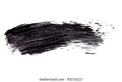 Brush strok of black shade of mascara on white