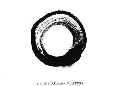 Brush stroke circle texture in black. Isolated on white.