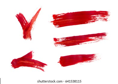 Brush strokes with red acrylic paints